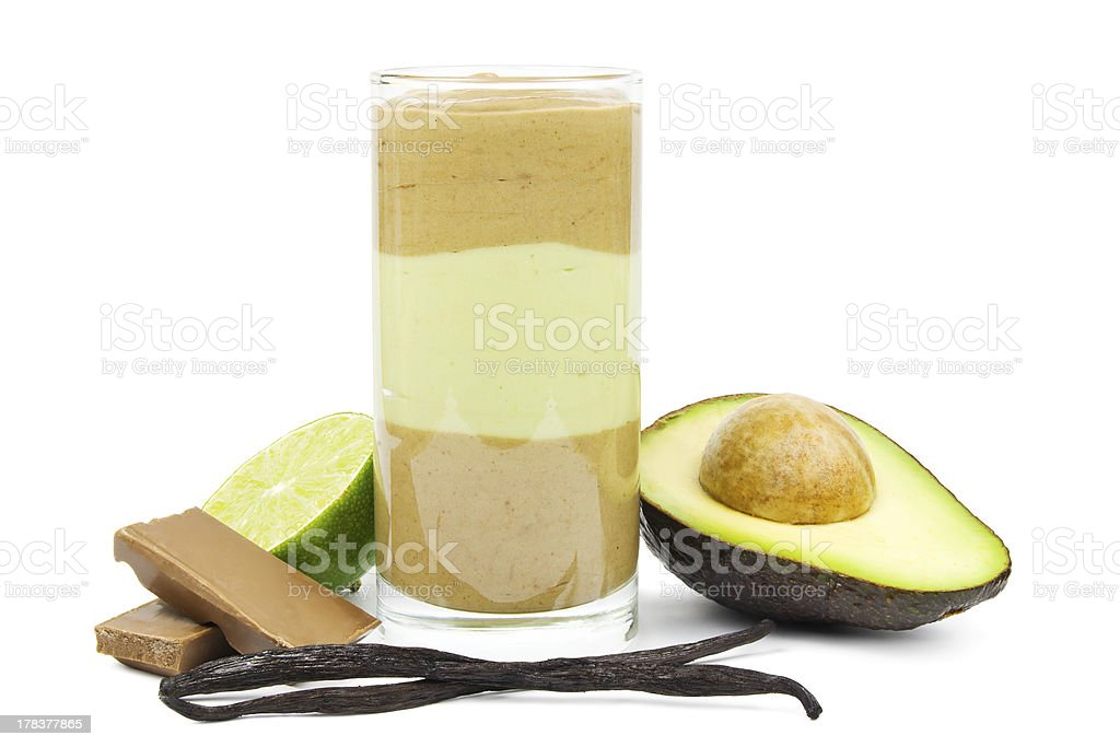 Avocado chocolate smoothie royalty-free stock photo
