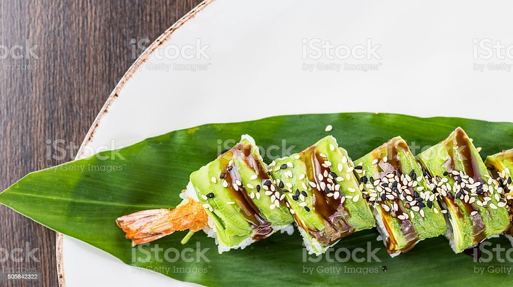 Avocado ebi furai sushi stock photo