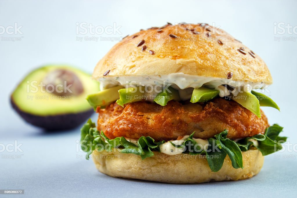 Avocado fish sandwich stock photo