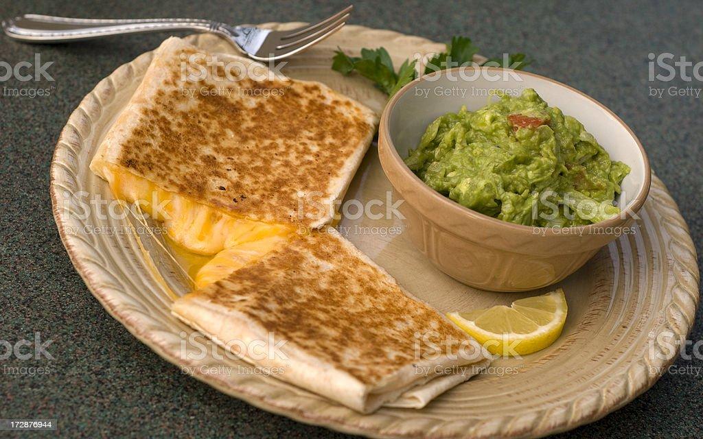 Avocado Guacamole Dip & Cheese Tortilla Quesadilla Mexican Food royalty-free stock photo