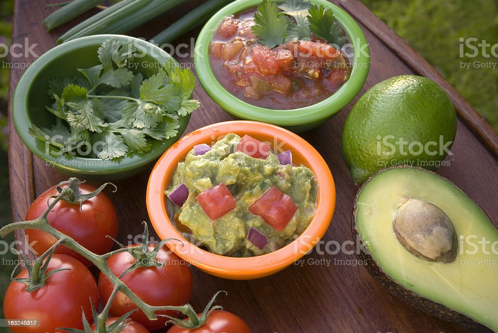 Avocado Guacamole Dip & Tomato Cilantro Spice Salsa, Mexican Food Appetizer royalty-free stock photo