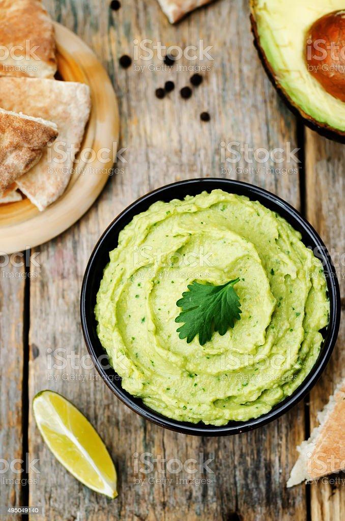 avocado hummus stock photo