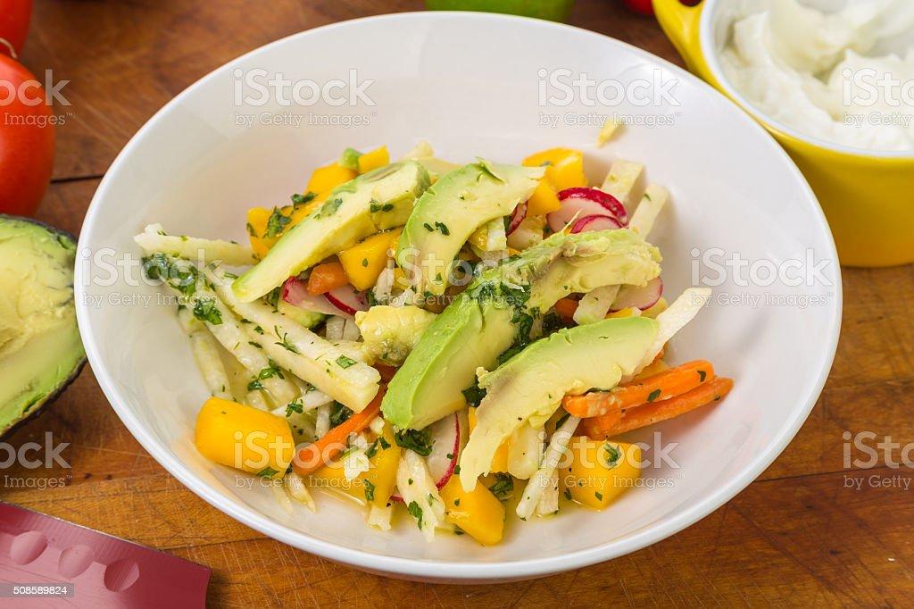 Avocado Jicama Mango Salad stock photo