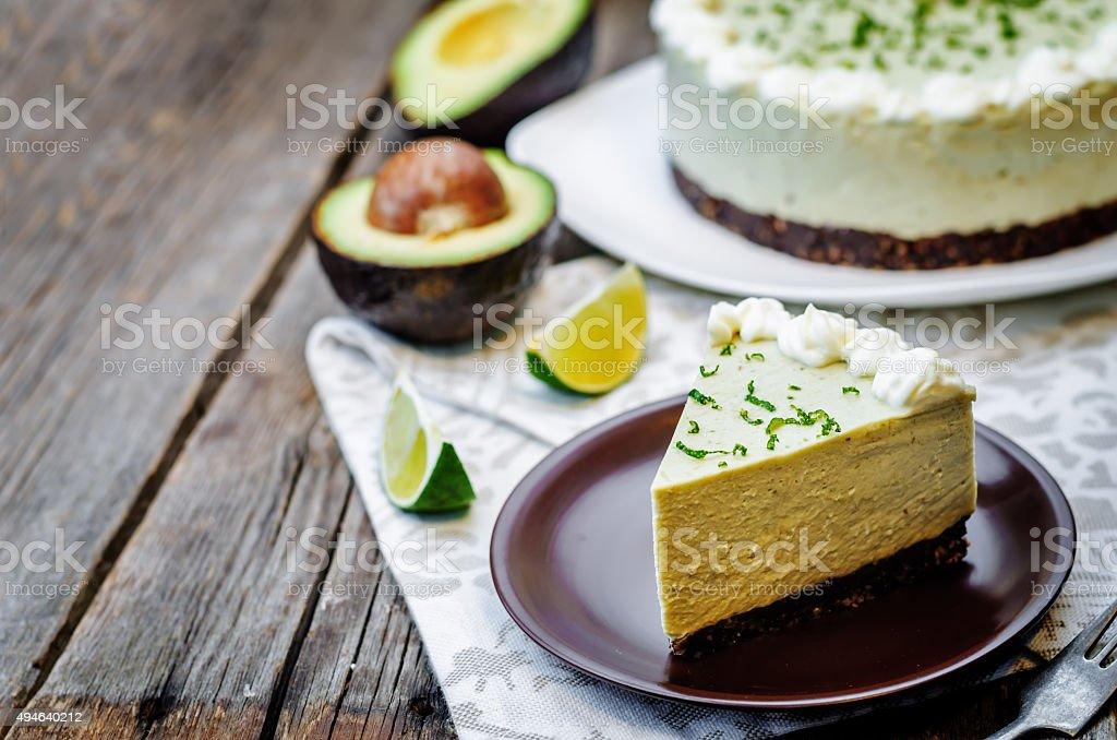 avocado lime cheesecake stock photo