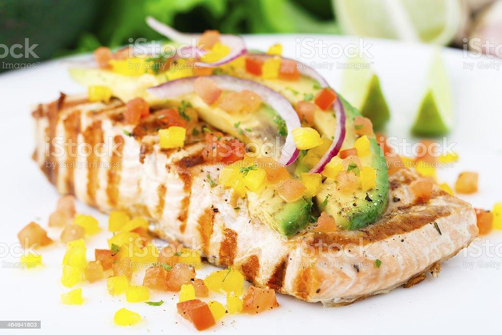 Avocado lime salmon stock photo