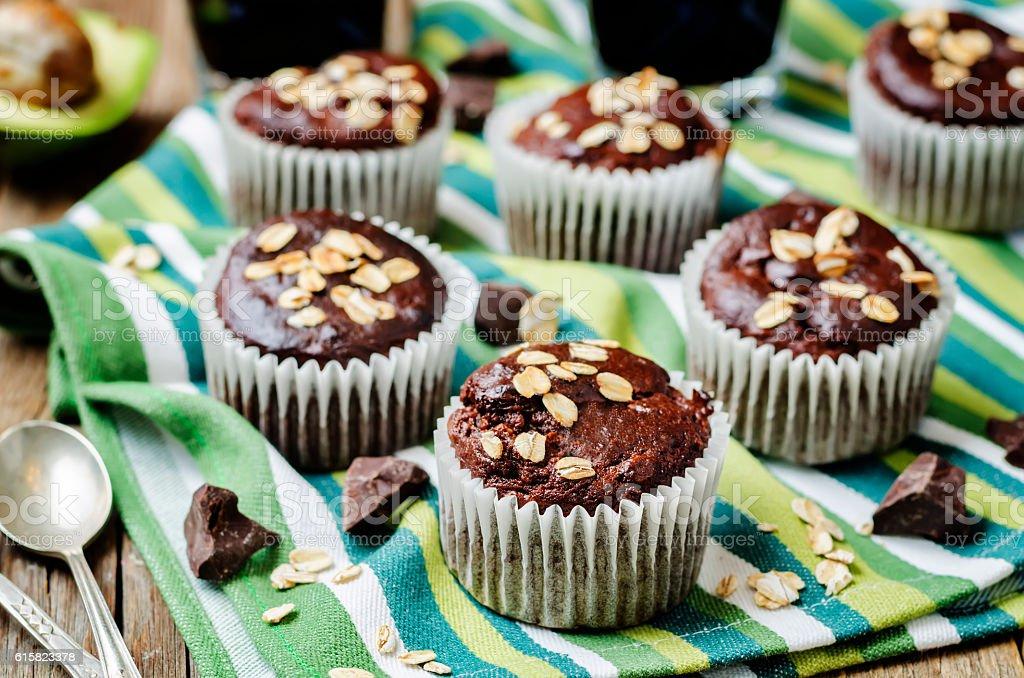 avocado oats chocolate muffins stock photo