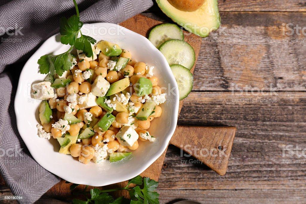 avocado salad with chickpea stock photo