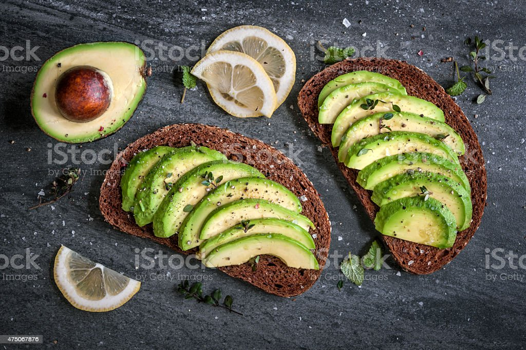 Avocado sandwich stock photo
