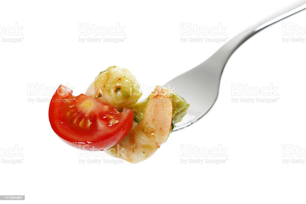 Avocado Scampi on a Fork stock photo
