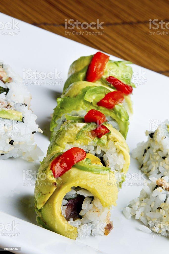 Avocado Sushi stock photo
