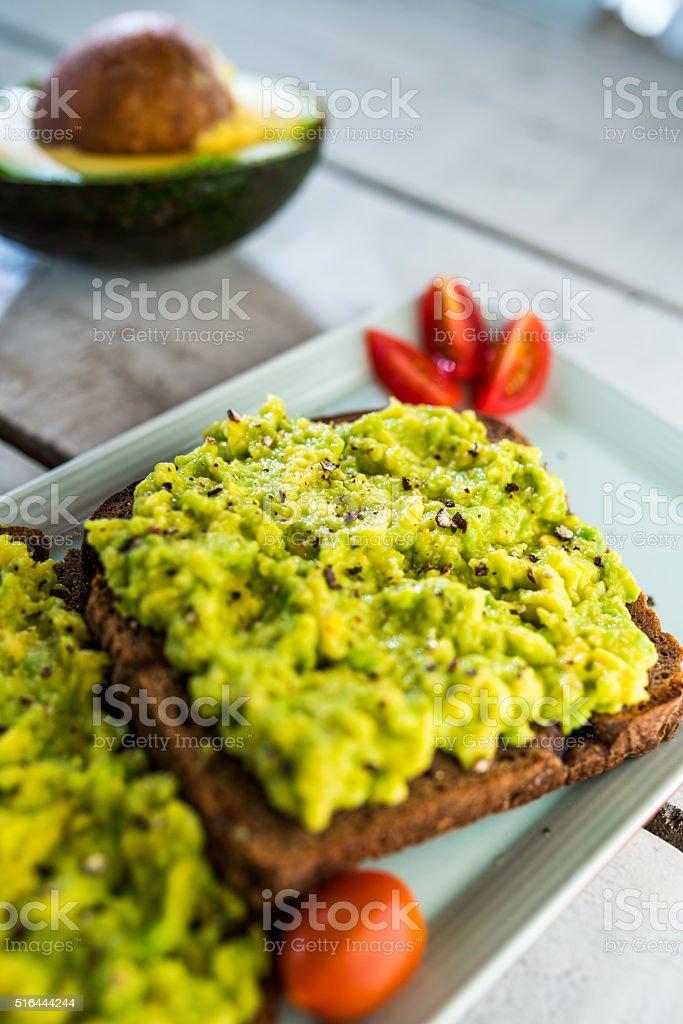 Avocado toast stock photo