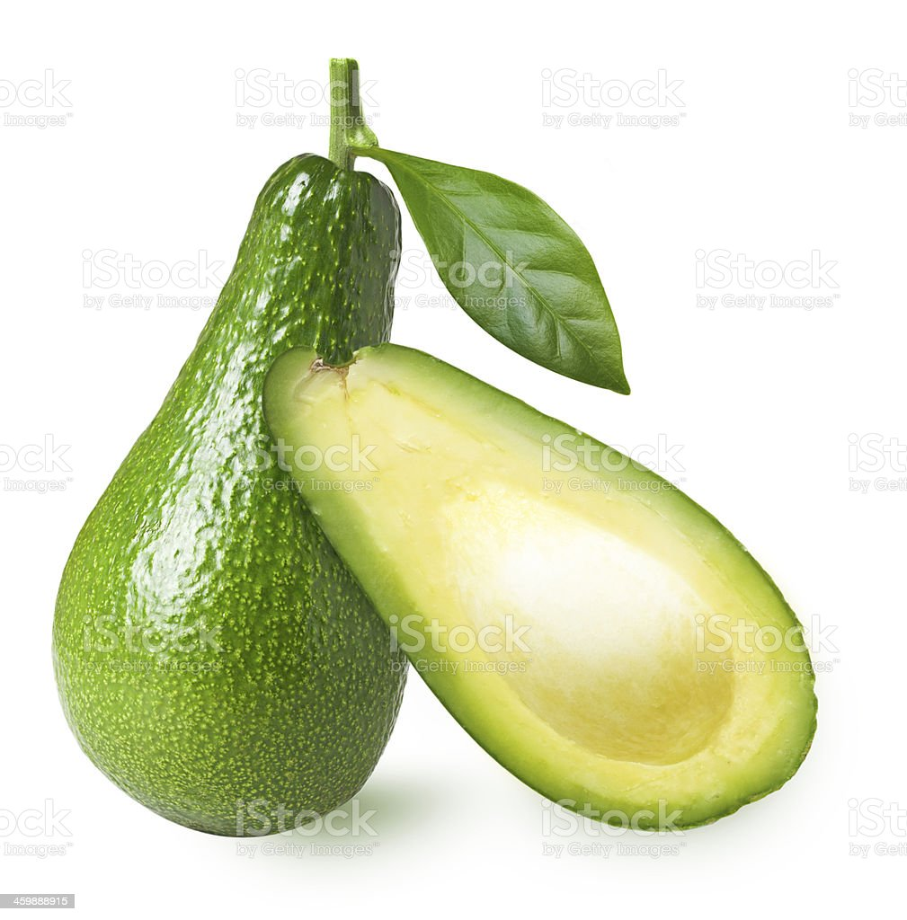 Avocado with leaf isolated royalty-free stock photo