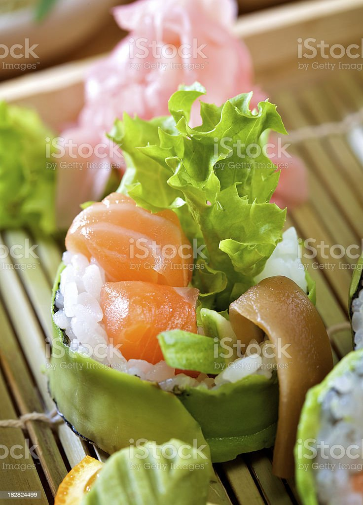 Avocado wrapped maki sushi royalty-free stock photo