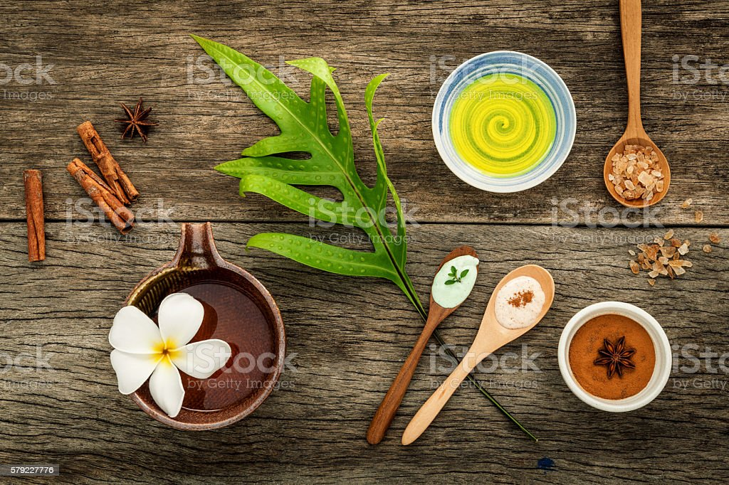 Avocados  leaves with nature spa ingredients dried indian bael , stock photo