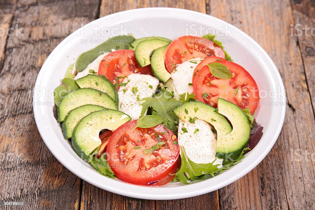 avocado,tomato and mozzarella salad stock photo