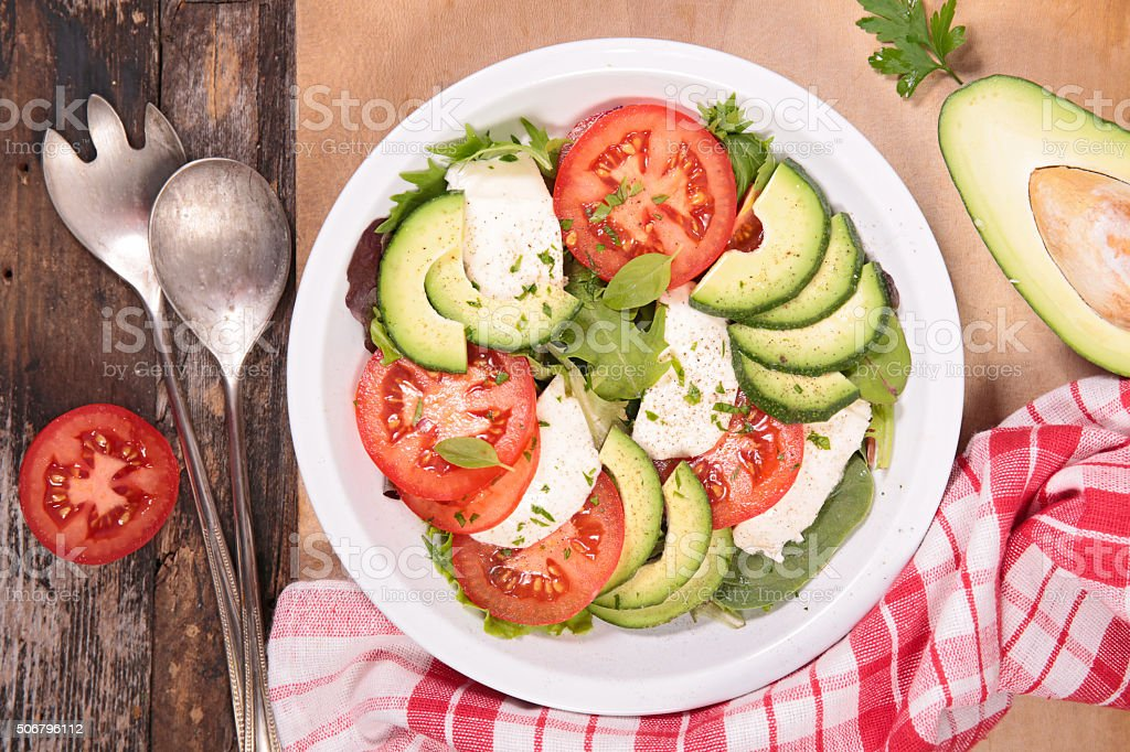 avocado,tomato and mozzarella salad stock photo
