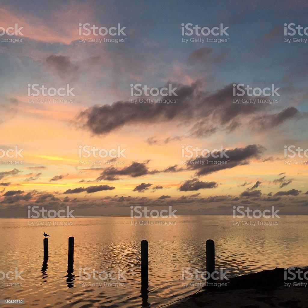 Avon, North Carolina Sunset over the Sound stock photo
