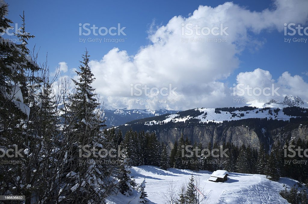 Avoriaz Valley in Winter, French Alps stock photo