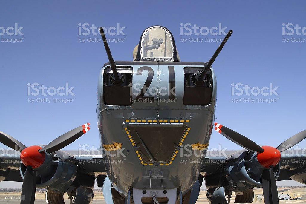 Avro shackleton face on displaying the gun and engines stock photo