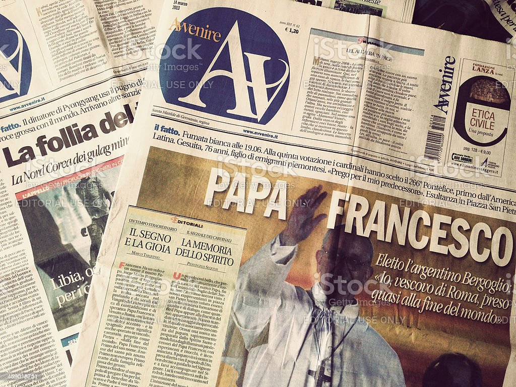 Avvenire newspaper the day after new Pope Election stock photo