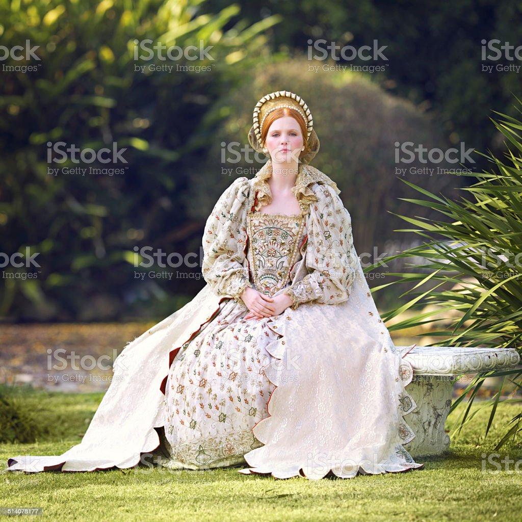 Awaiting her king stock photo
