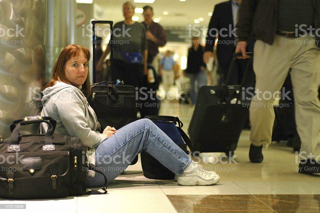 awaiting the flight home royalty-free stock photo