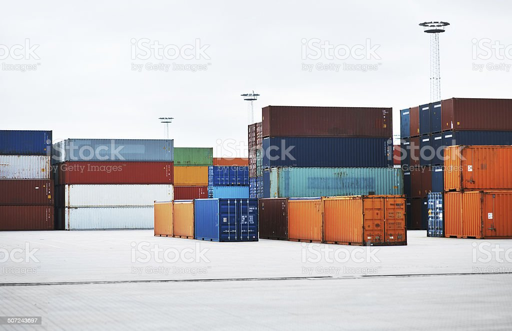 Awaiting transport to foreign locales stock photo
