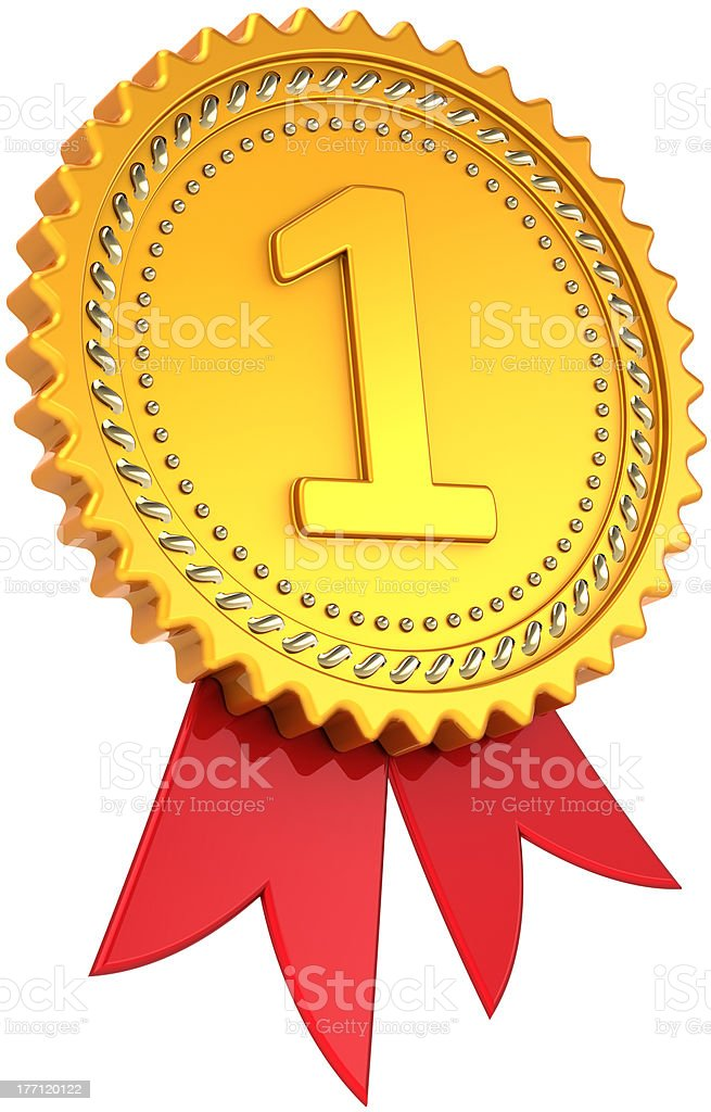 Award ribbon First place golden badge royalty-free stock photo