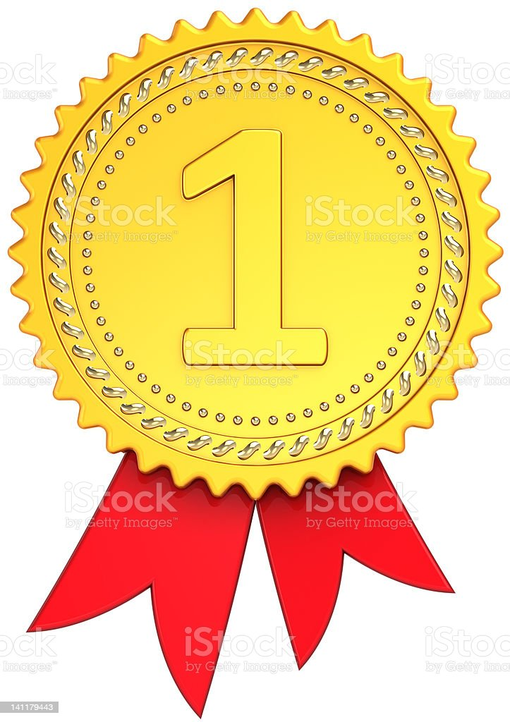 Award ribbon First place golden royalty-free stock photo