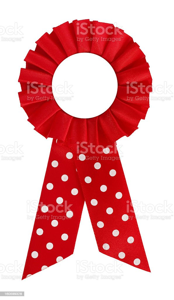 Award rosette prize with dotted red ribbon blank royalty-free stock photo