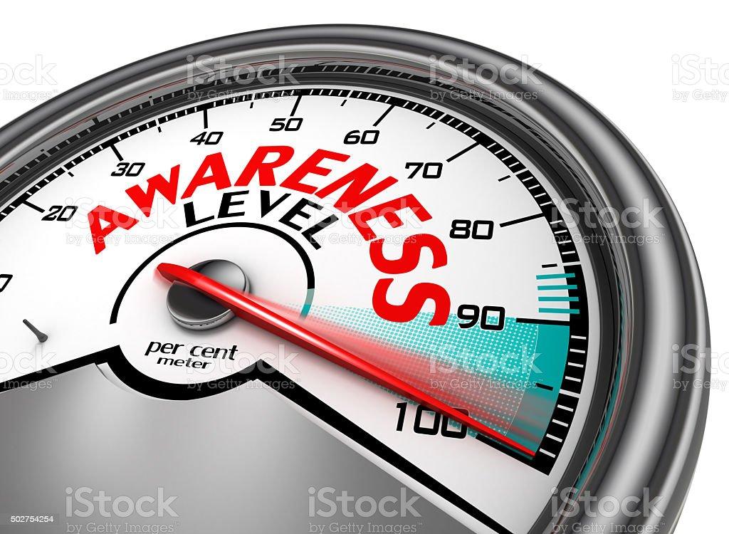 awareness level meter hundred per cent stock photo