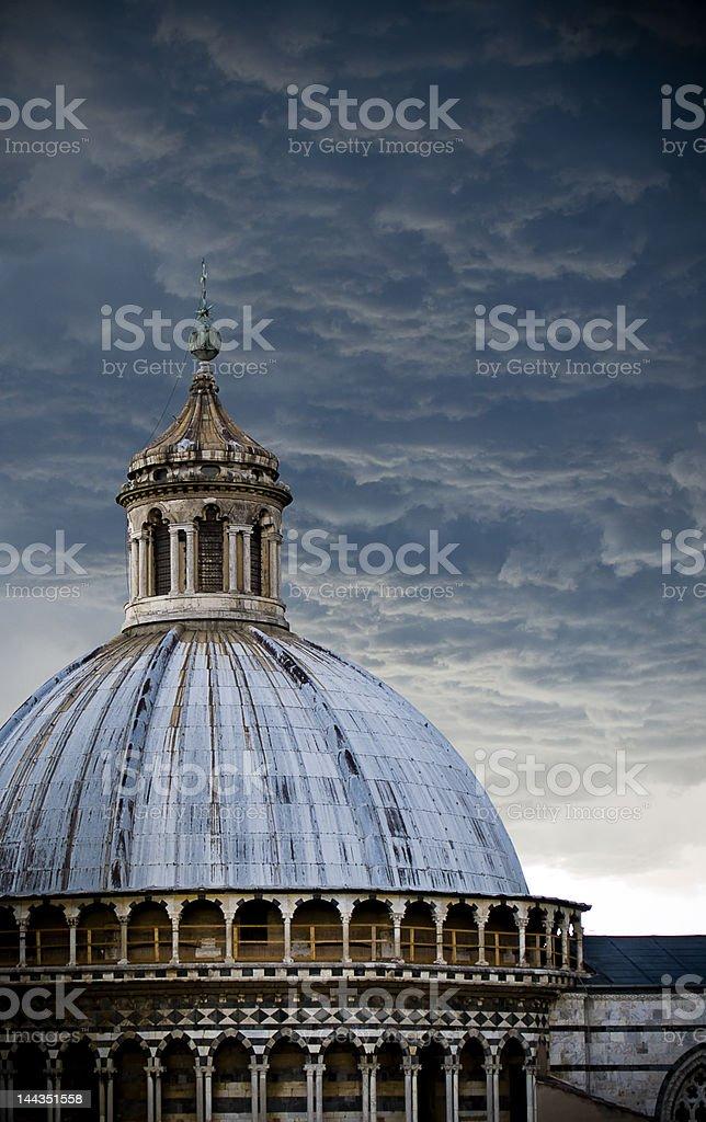 Awe Inspiring Storm Clouds Over Siena Duomo stock photo