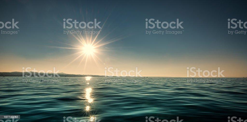 awe sundown over lake constance in switzerland royalty-free stock photo