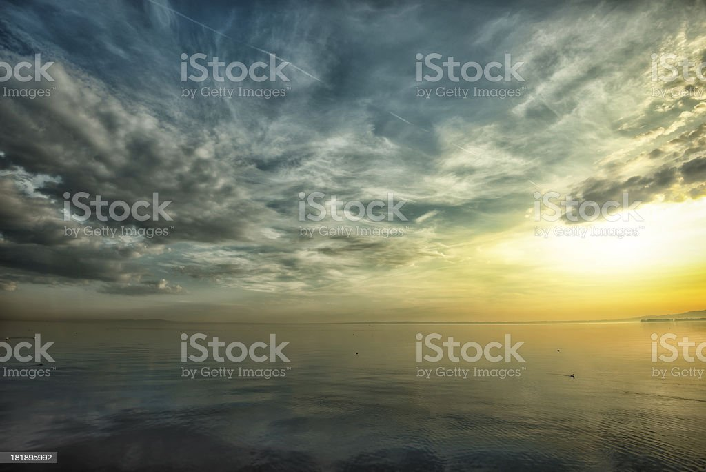 Awe sunrise over lake constance, switzerland royalty-free stock photo