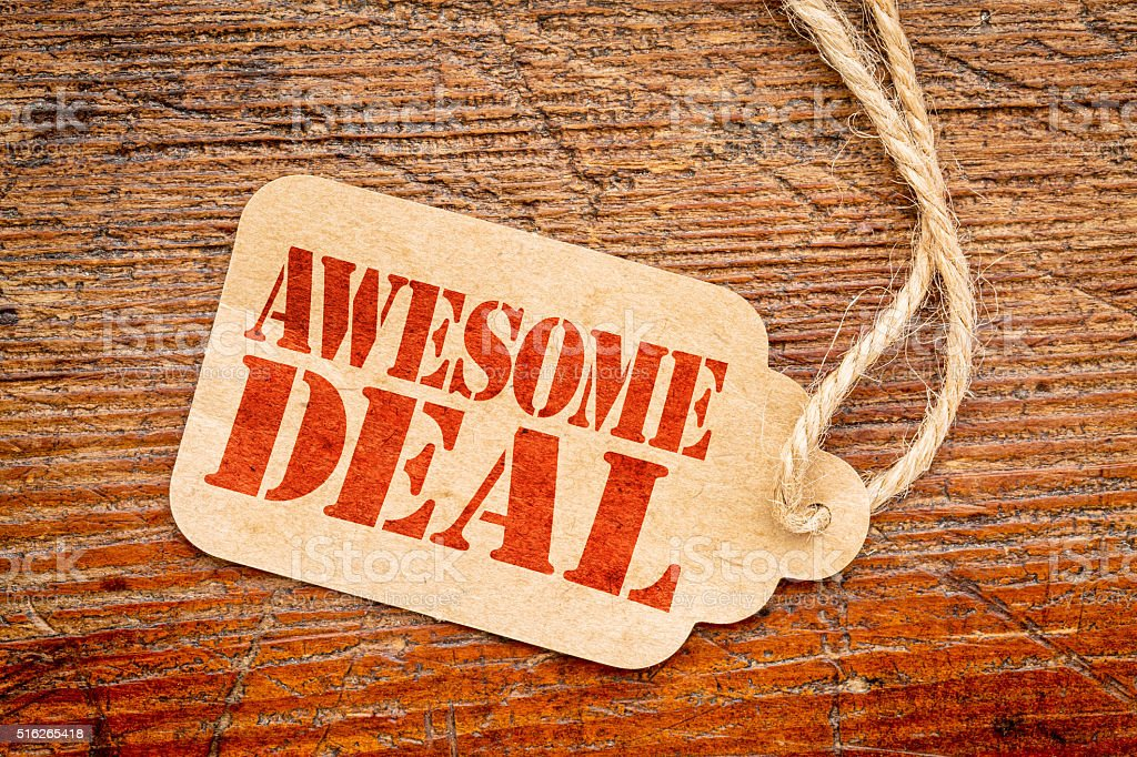 awesome deal sign -  price tag stock photo