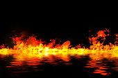 awesome fire flames with water reflection, on a black background