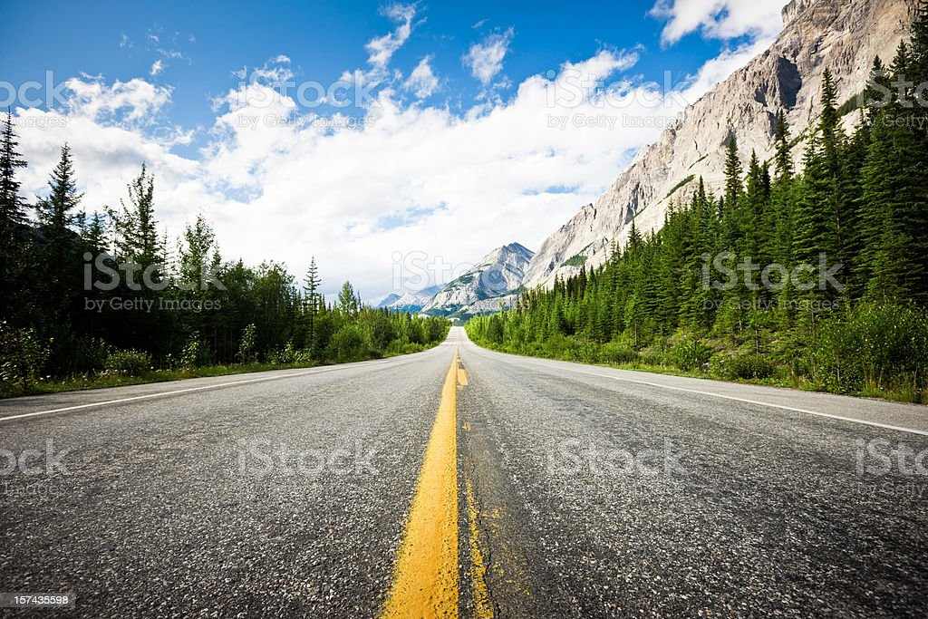 Awesome Highway through Canadian Rockies stock photo