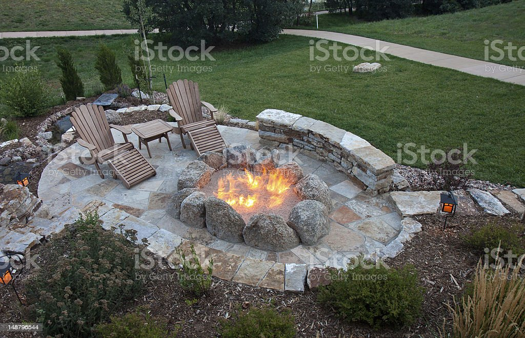 Awesome oval firepit stock photo