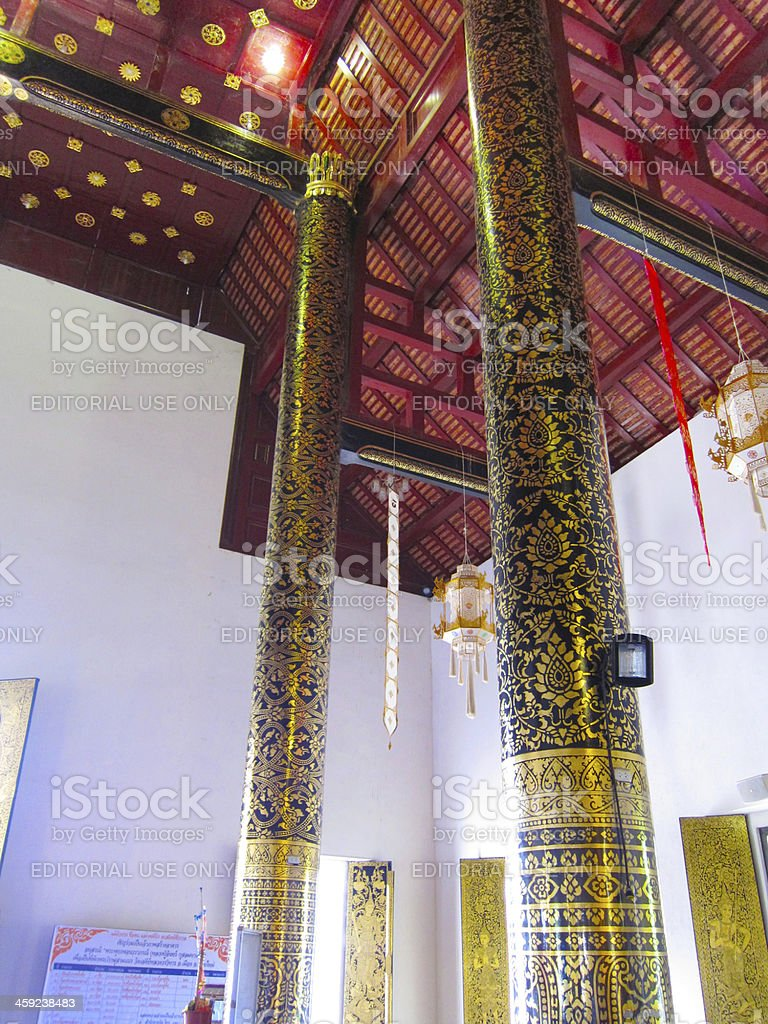 Awesome Pillar in Chiangmai temple stock photo