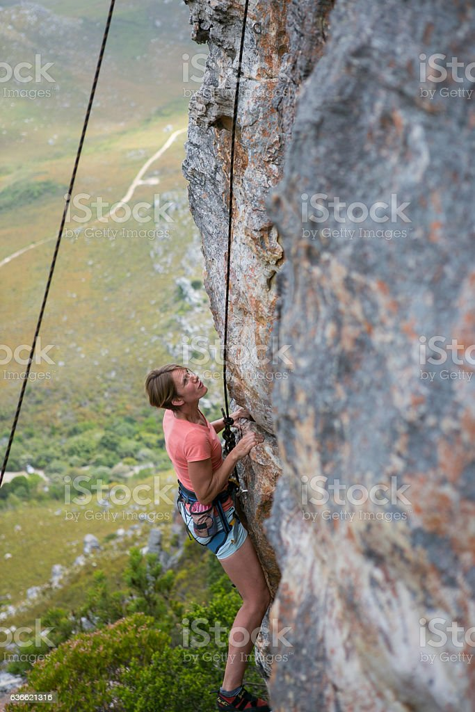 Awesome rock climbing experience stock photo