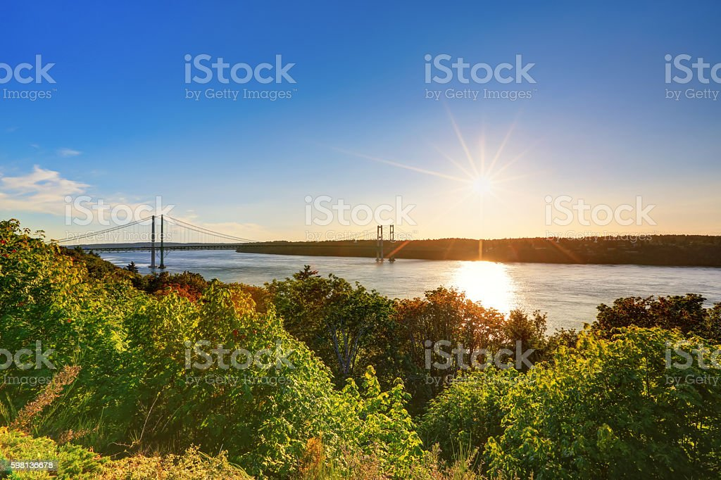 Awesome scenic bay view in Tacoma stock photo