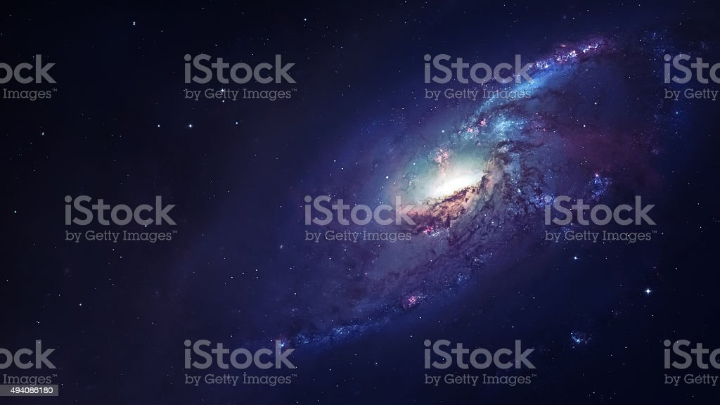 Awesome spiral galaxy many light years far from the Earth stock photo