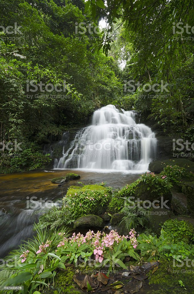 Awesome waterfall of Asia. stock photo