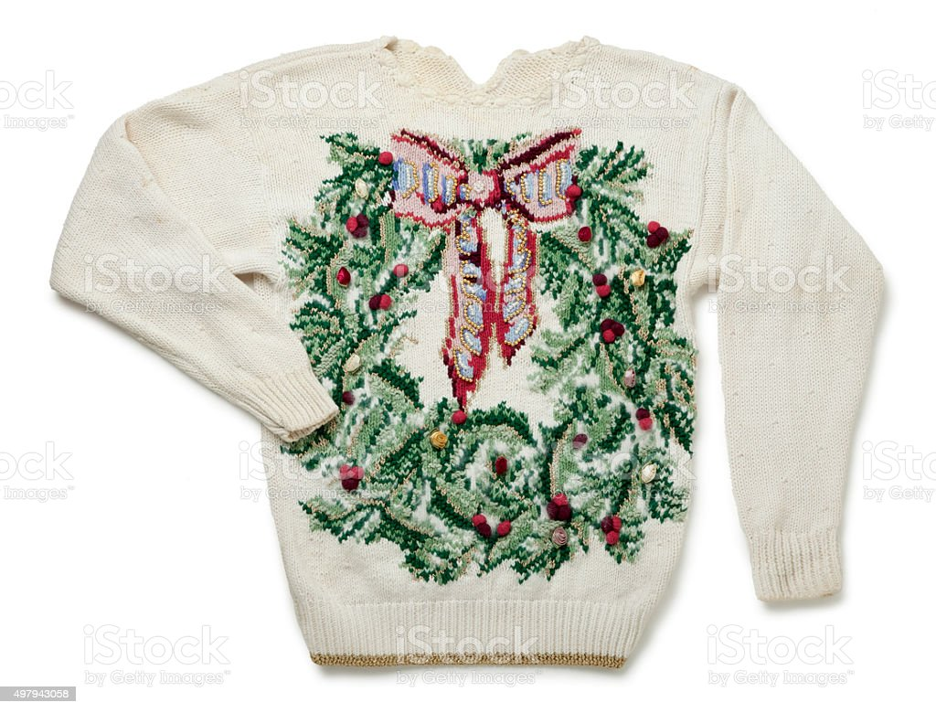 Awful Christmas Sweater Isolated on White stock photo