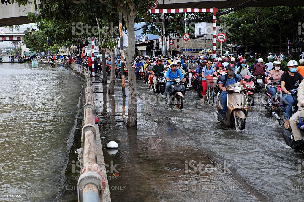 Awful flooded street at Ho Chi Minh city stock photo