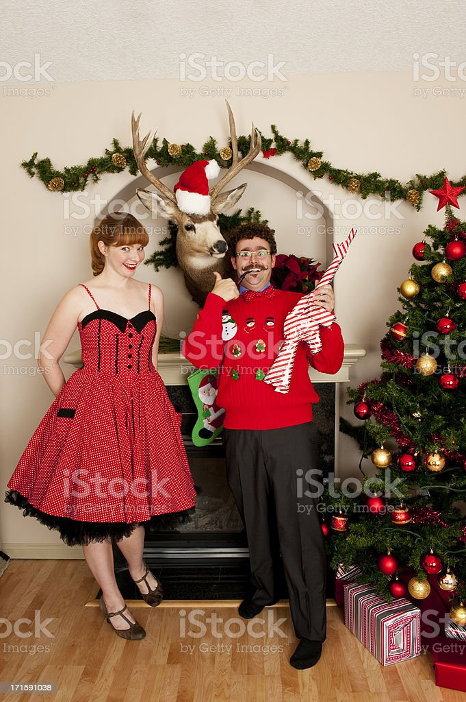 Awkward Christmas Couple stock photo