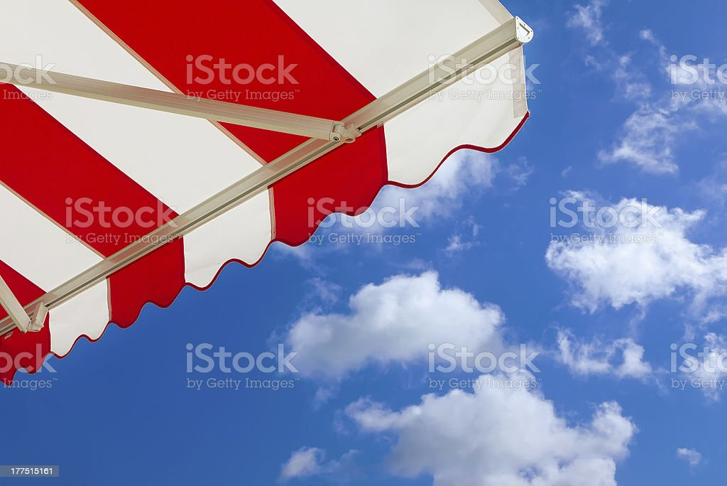 Awning over bright sunny blue sky royalty-free stock photo
