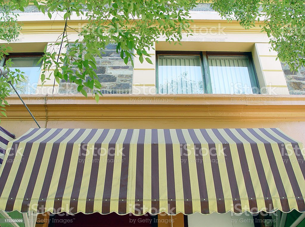 Awning with stripes stock photo