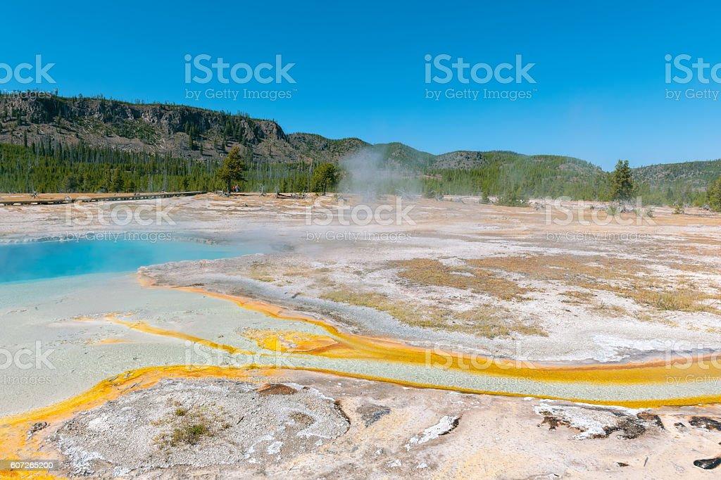 Awsome Multi Colored Grand Prismatic Lake in Yellowstone Wyoming USA stock photo