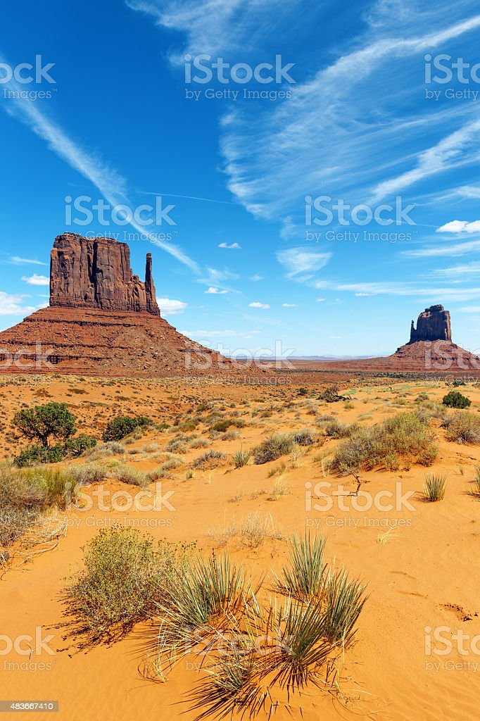 Awsome West Mitten Butte in Monument Valley USA stock photo